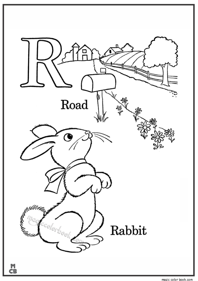 Alphabet R With Picture Coloring Pages ROAD RABBIT