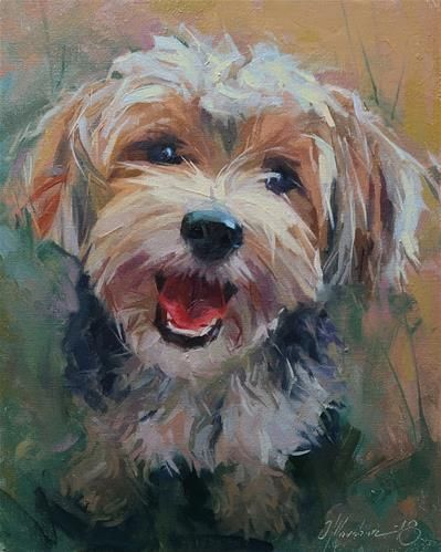 Lovely animal art thick textured dog painting modern kids room wall art painting for friends
