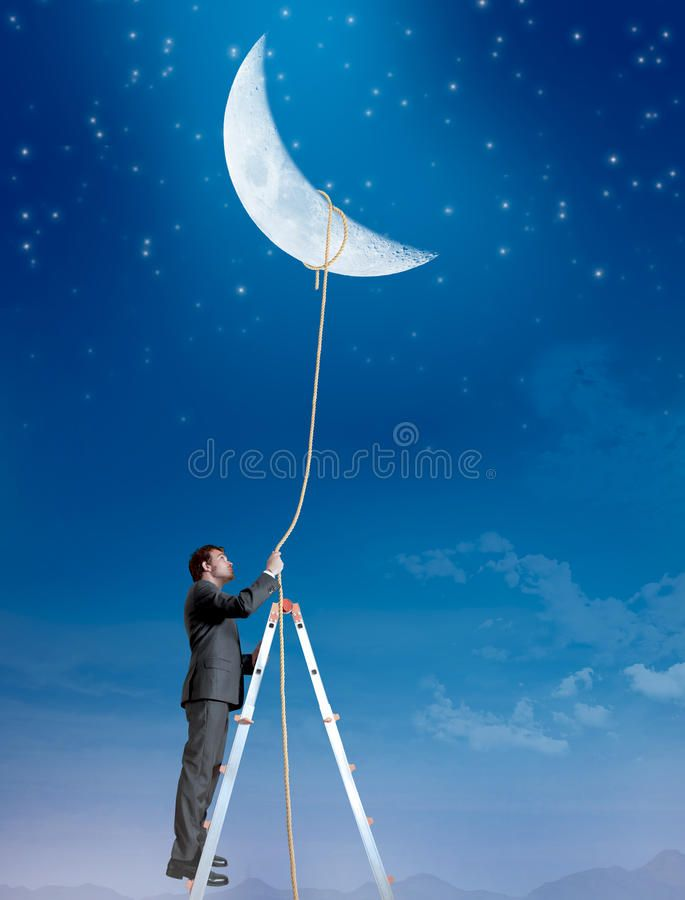 Businessman wants the moon stock photo. Image of blue – 26047668