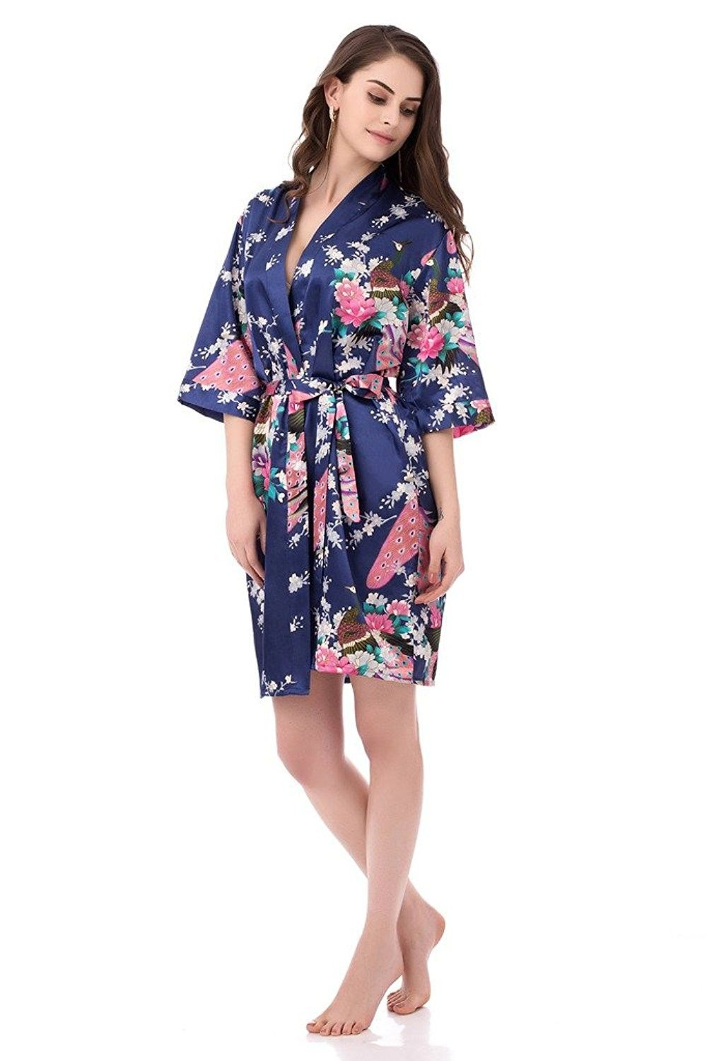 Women s Printing Peacock Kimono Robe Short Sleeve Silk Bridal Robe ... 288998ba0