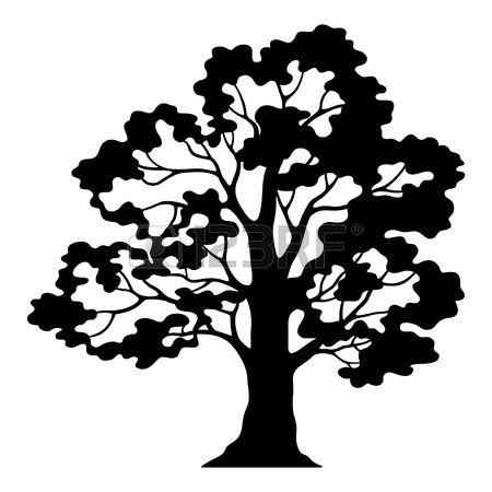 Oak Tree Pictogram Black Silhouette And Contours Isolated On Oak Tree Drawings Tree Illustration Oak Tree Silhouette