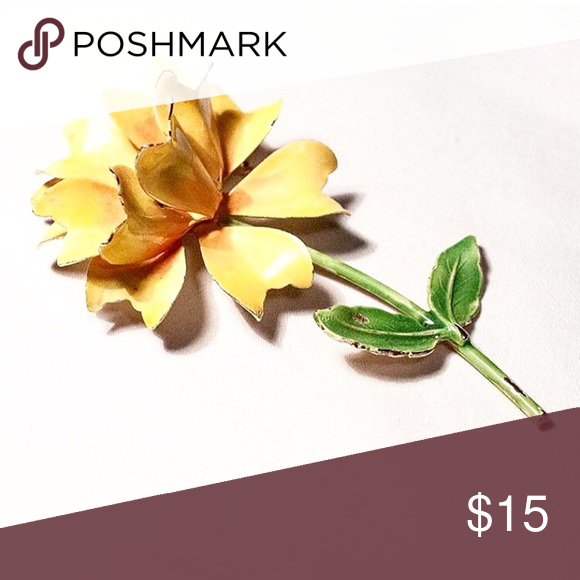 """Vintage flower pin. 4"""" long. Enameled vintage flower pin. Yellow carnation. 4"""" in length. Mint condition. Mid Century modern. Jewelry Brooches"""
