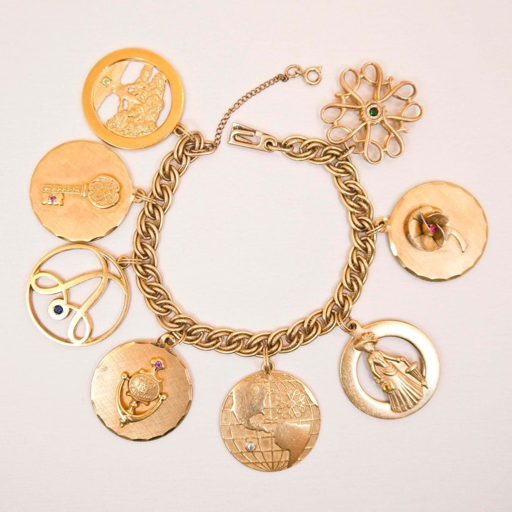 Collectible AVON Presidents Club Charm Bracelet with Gold Filled Charms, Vintage #Avon