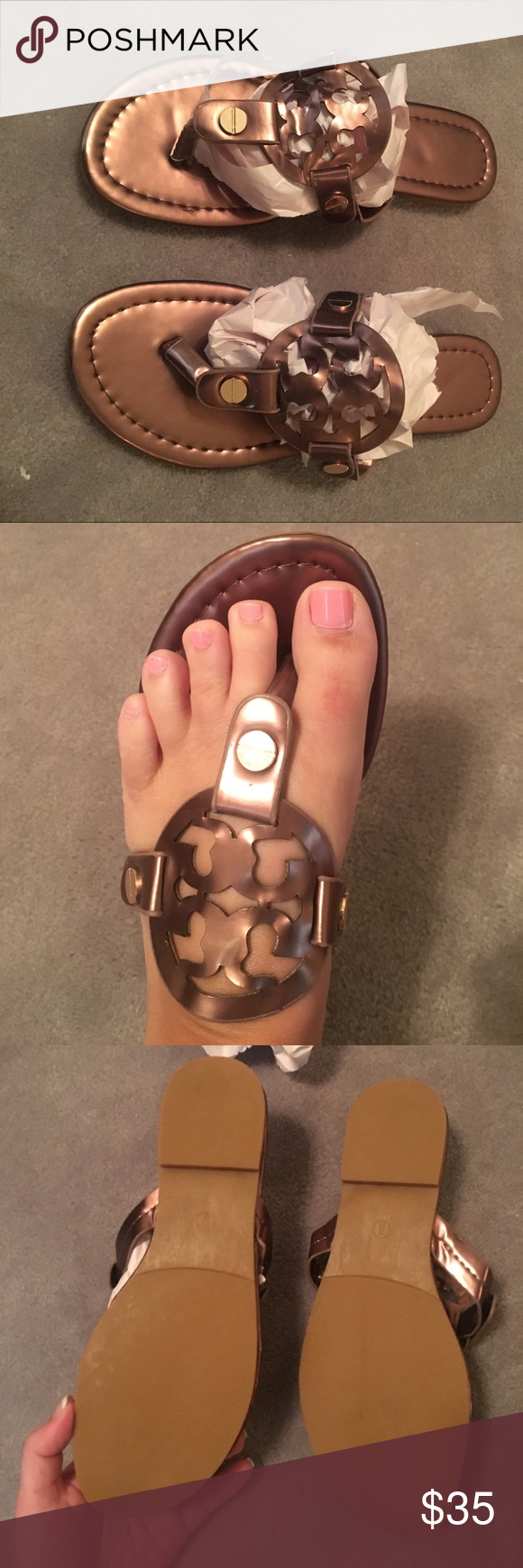 9fedaceccddd8d Tory burch miller sandals Price reflects authenticity. Great pair of inspired  sandals. Bronze Brown color Tory Burch Shoes Sandals