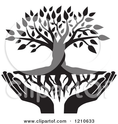 Clipart of a Black and White Tree with Roots and Uplifted Hands ...