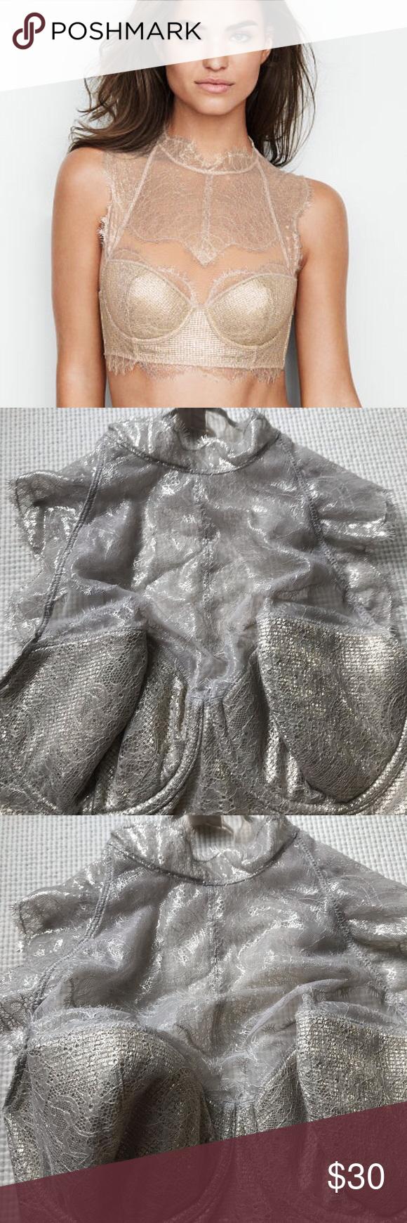 NWT VICTORIA/'S SECRET Dream Angels Lined Demi Bra High-neck Gold 32D
