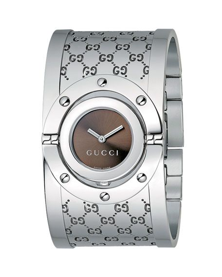 7c0ebaa1336 GUCCI TWIRL STAINLESS STEEL FLIP BANGLE WATCH