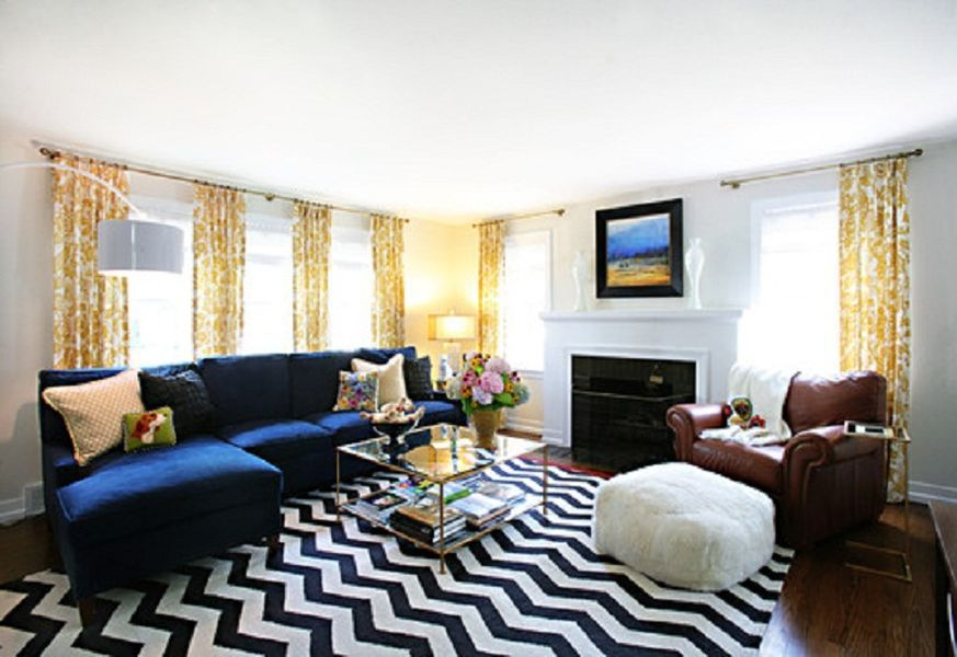 Blue Couch With Yellow Curtains