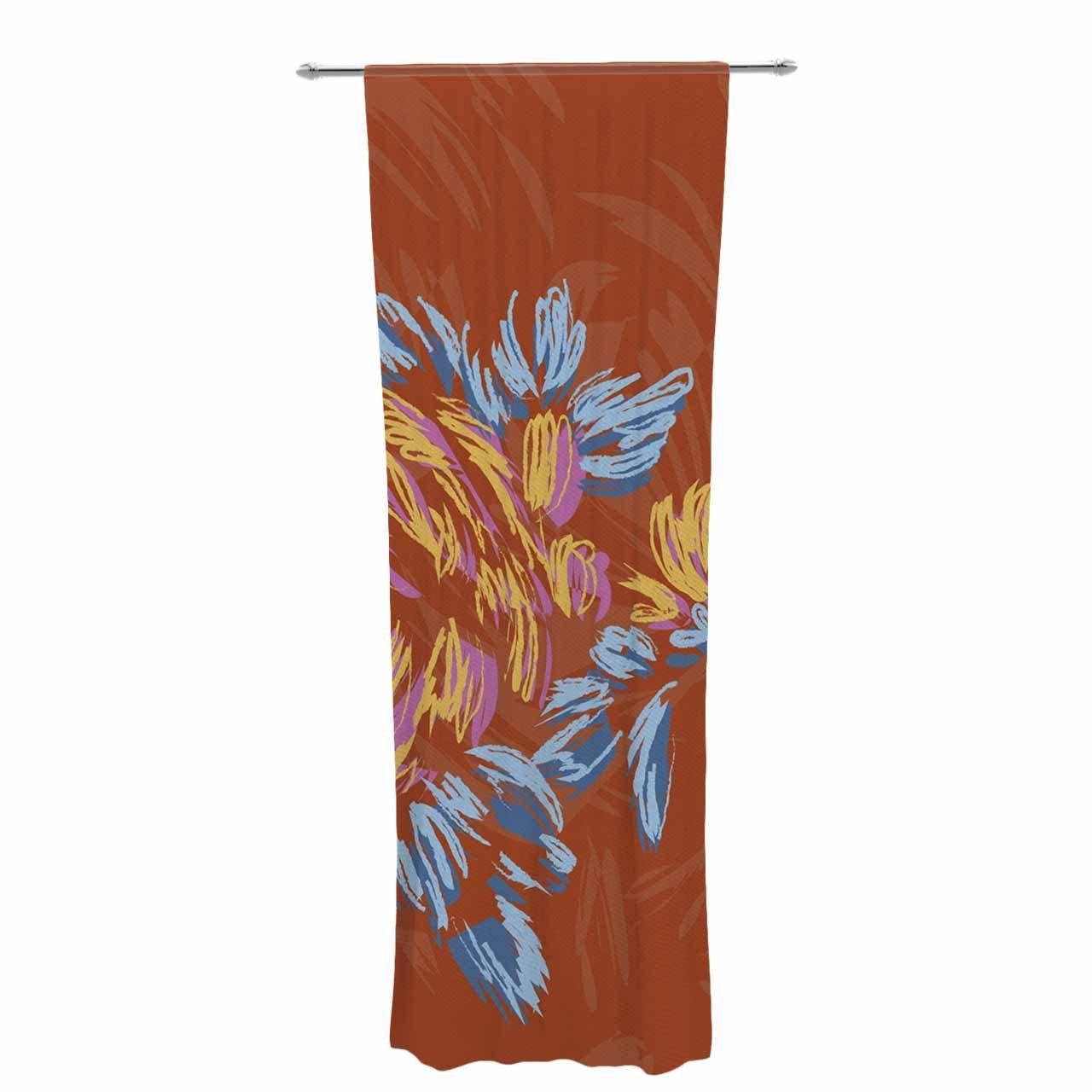 "Gukuuki ""Wonderful World"" Brown Typograpgy Decorative Sheer Curtain"