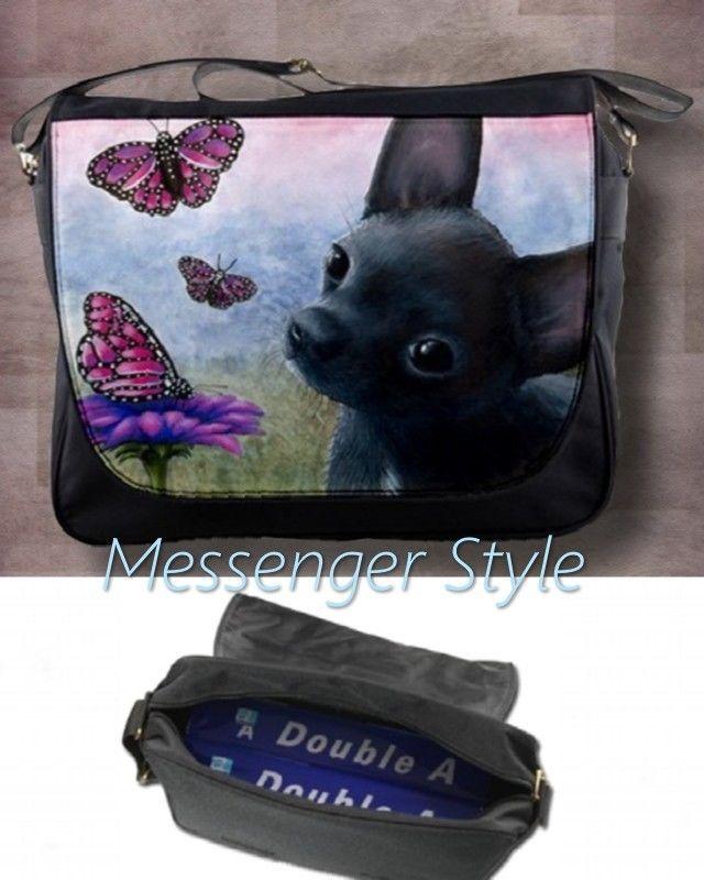 Messenger Bag Purse Handbag Tan Or Black Chihuahua From Art Painting By L Dumas
