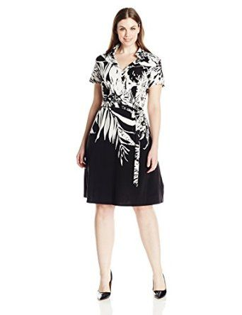 Donna Ricco Womens Plus Size Short Sleeve Floral Printed Wrap Dress