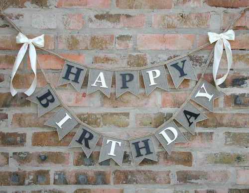 Happy Birthday Banner, burlap happy birthday banner, birthday decor via FriendlyHandmade