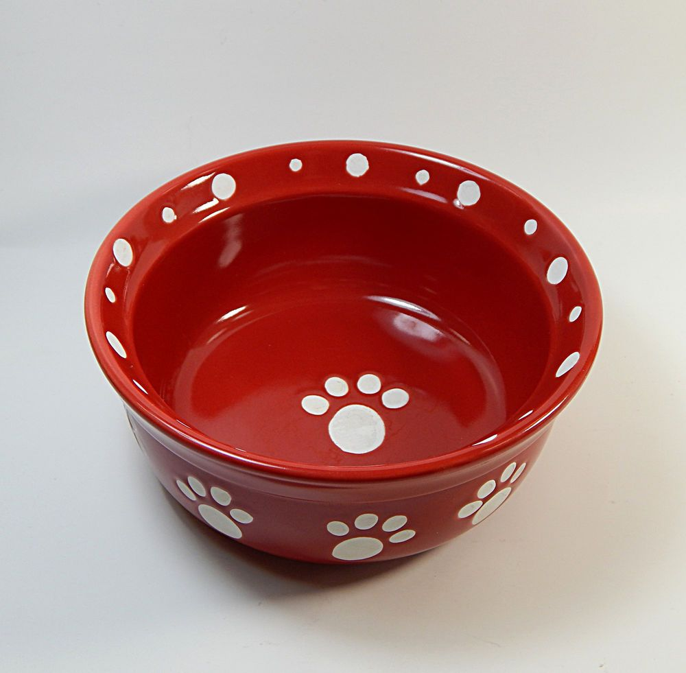 Ceramic Dog Cat Pet Bowl Dish Red White Paw Print