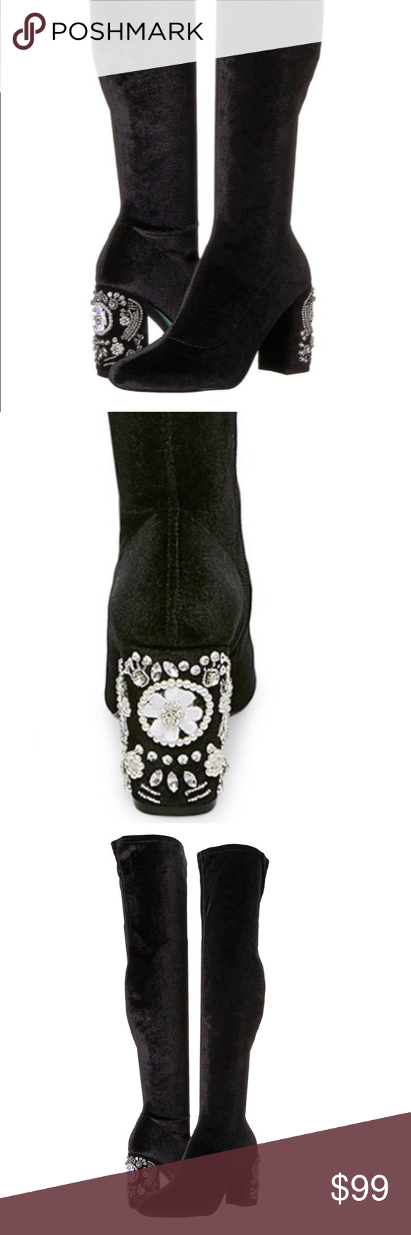 65ff14ac888 NIB Blue by Betsey Johnson Giselle otk boots Gorgeous velvet over the knee  boots with jeweled heel from Betsey Johnson. Betsey Johnson Shoes Over the  Knee ...