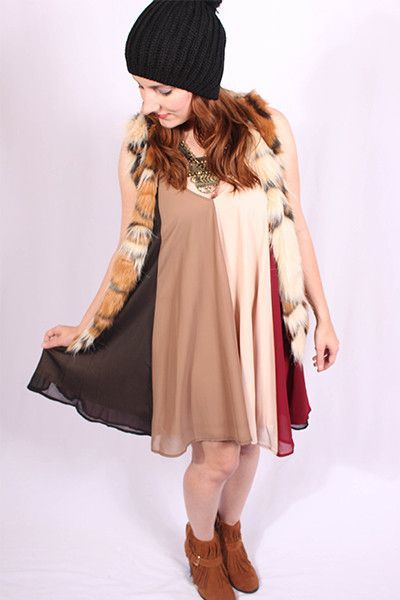 Color Block Dress- Burgundy