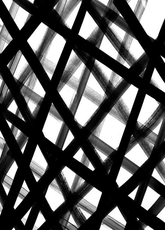 Painted Crosshatch Black White Pattern Design Mark Making