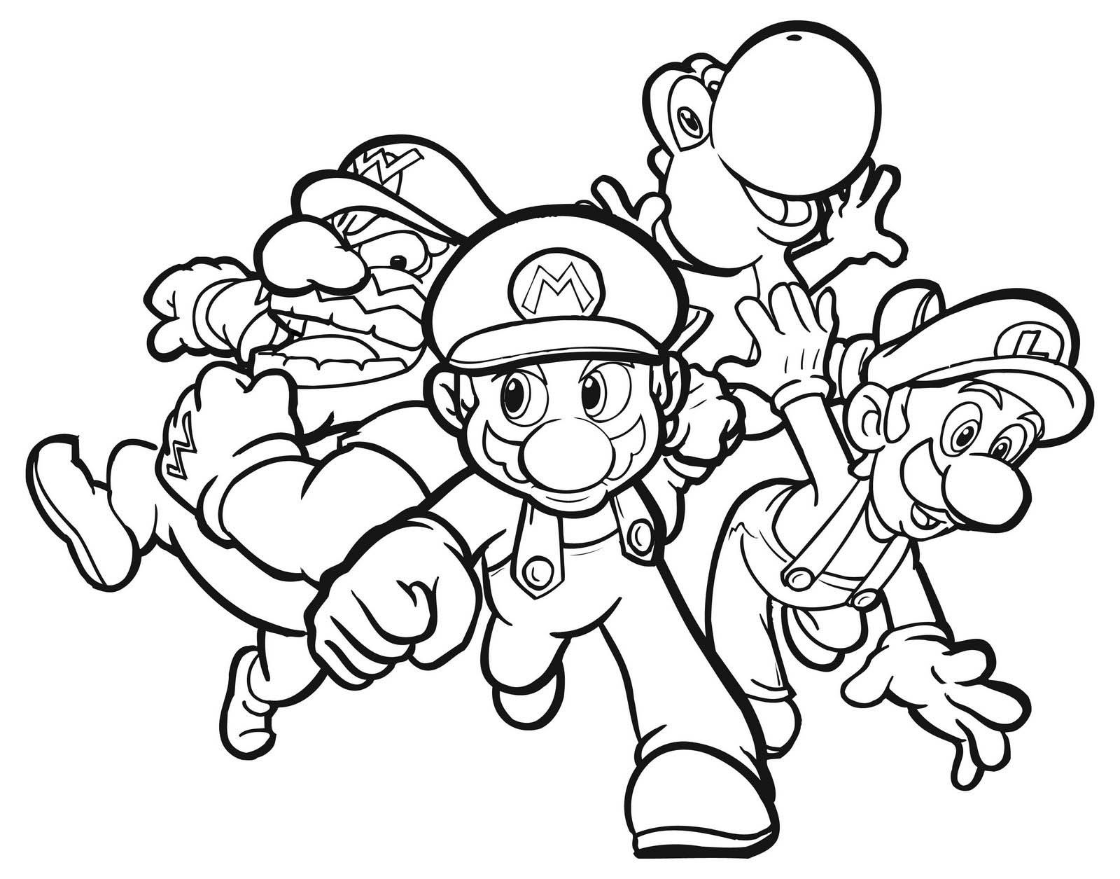mario brothers wario luigi yoshi nintendo color pages - Character Coloring Pages Kids