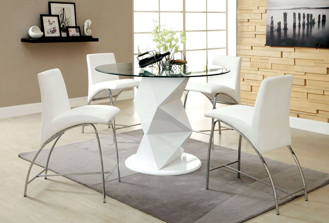 Lovely The Contemporary Counter Height Picazzo Dining Set Features A Work Of Art  Pedestals And A Stunning Glass Top. Accessorized By Four Chairs With  Elegant ...