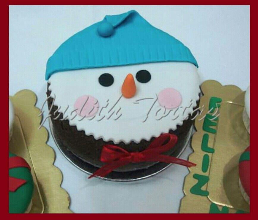 Mini cake muñeco de nieve. Decoración fondant.