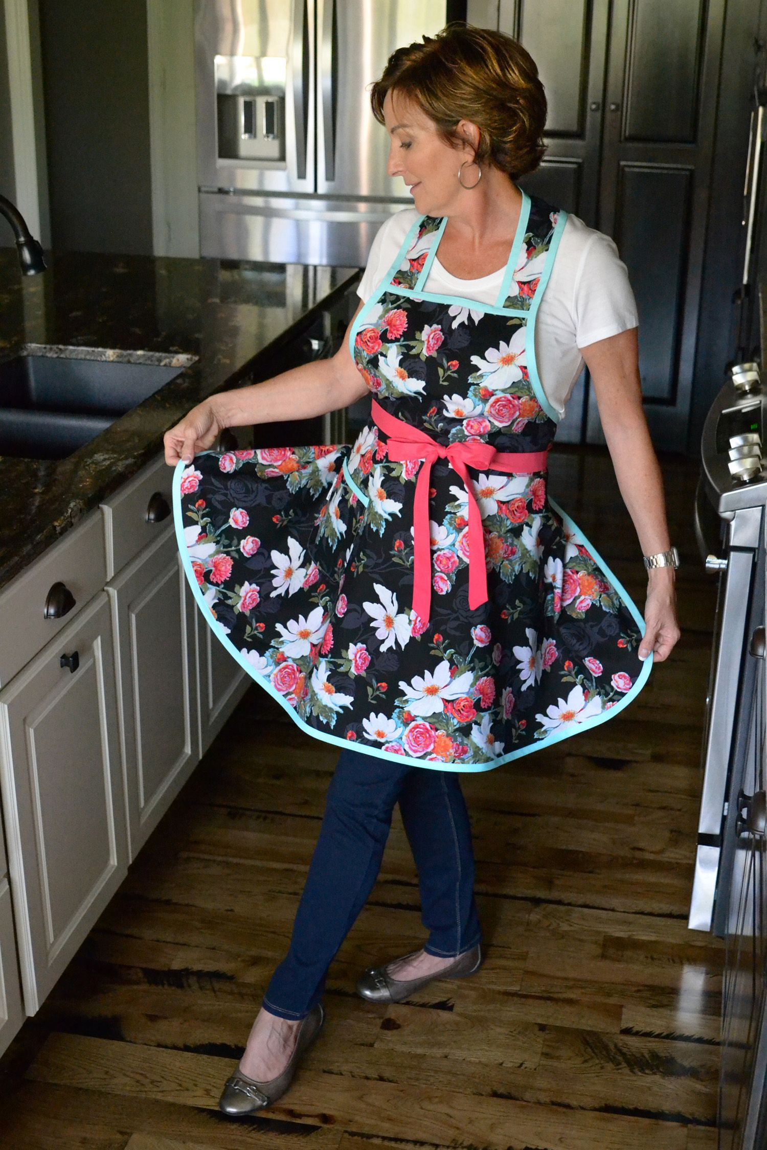 Stella Pinafore Retro Apron Asian Inspired Magnolia Black Pink Floral