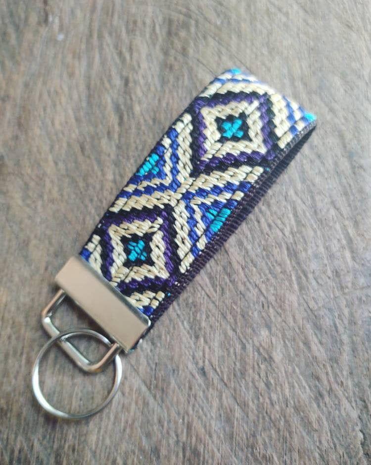 Fabric Keychain Wristlet Keychain Key Fob Wristlet Mini Tribal Key Chain Fob Key Key Lanyard