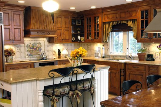 Country knotty pine | Traditional kitchen cabinets ...