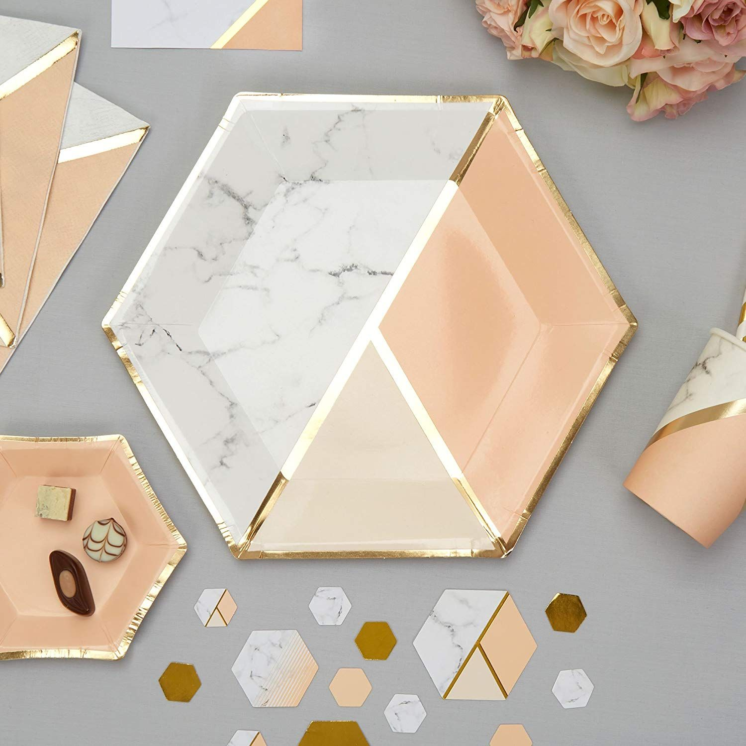 Wohnzimmer Deko Amazon Affiliatelink Neviti Colour Block Marble Partyteller Apricot