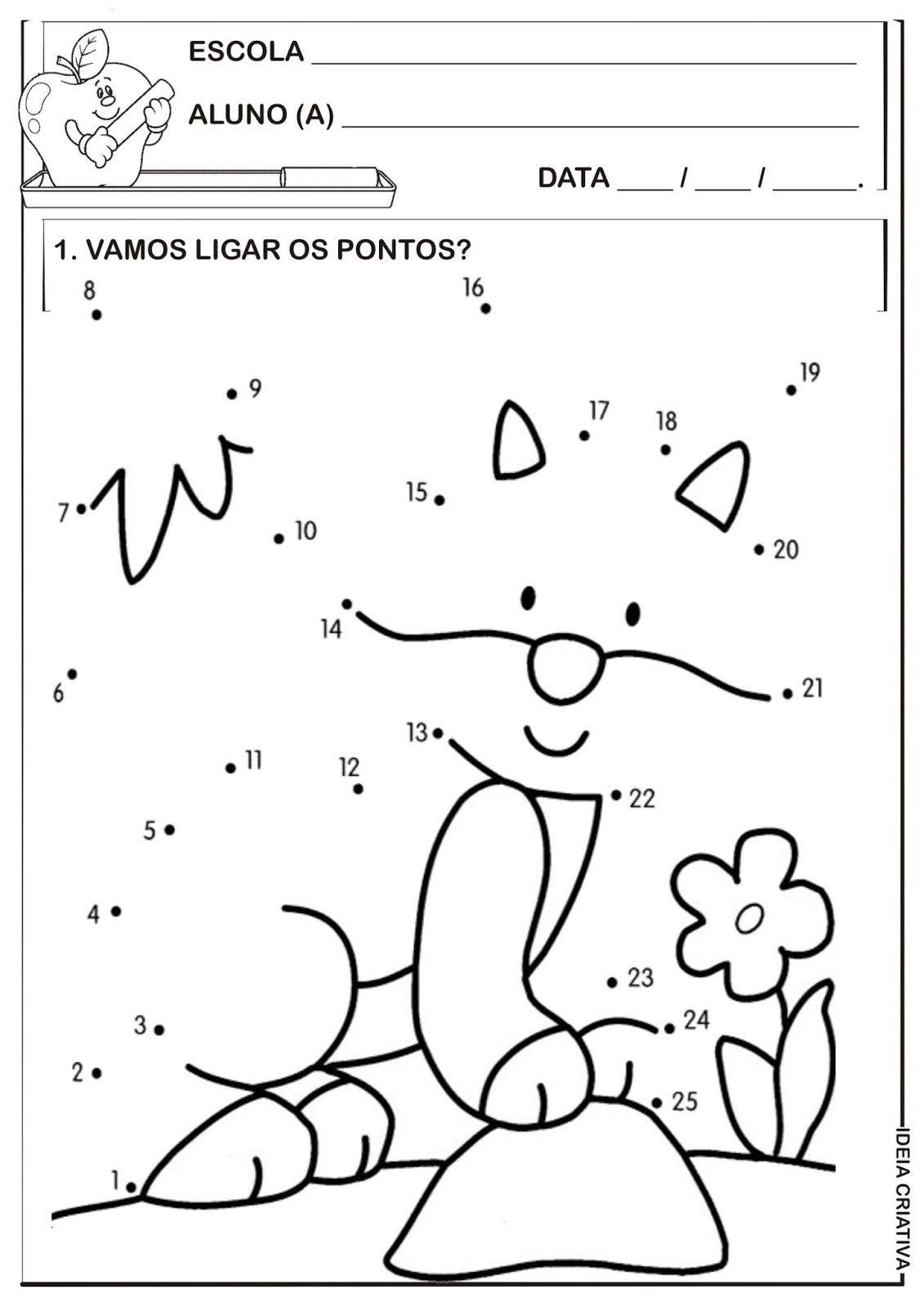 Matemática Infantil Atividade Liga Pontos Temática Animais Ligar