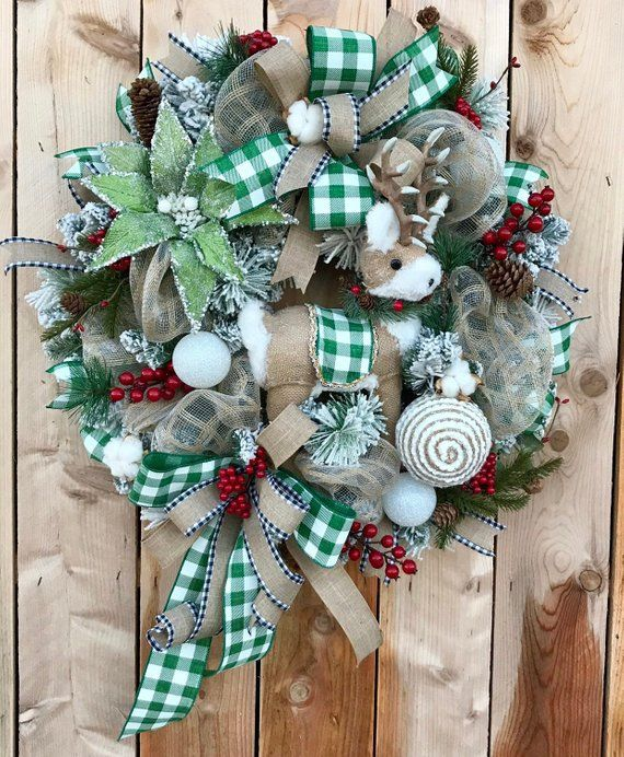 Winter Wreath Deer Door Decor Front Decorations