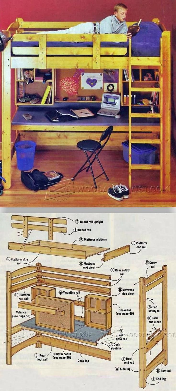 Loft bed with slide plans  Loft Bed Plans  Childrenus Furniture Plans and Projects
