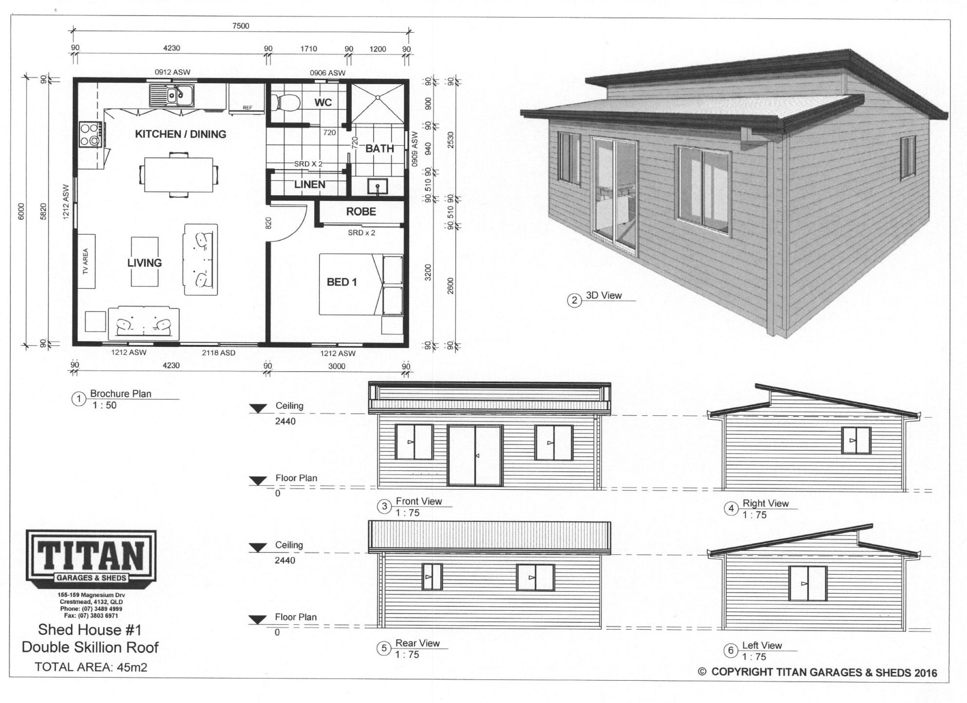 Titan Homes #1 Double Skillion Roof 45m2 www.titangaragesandsheds ...