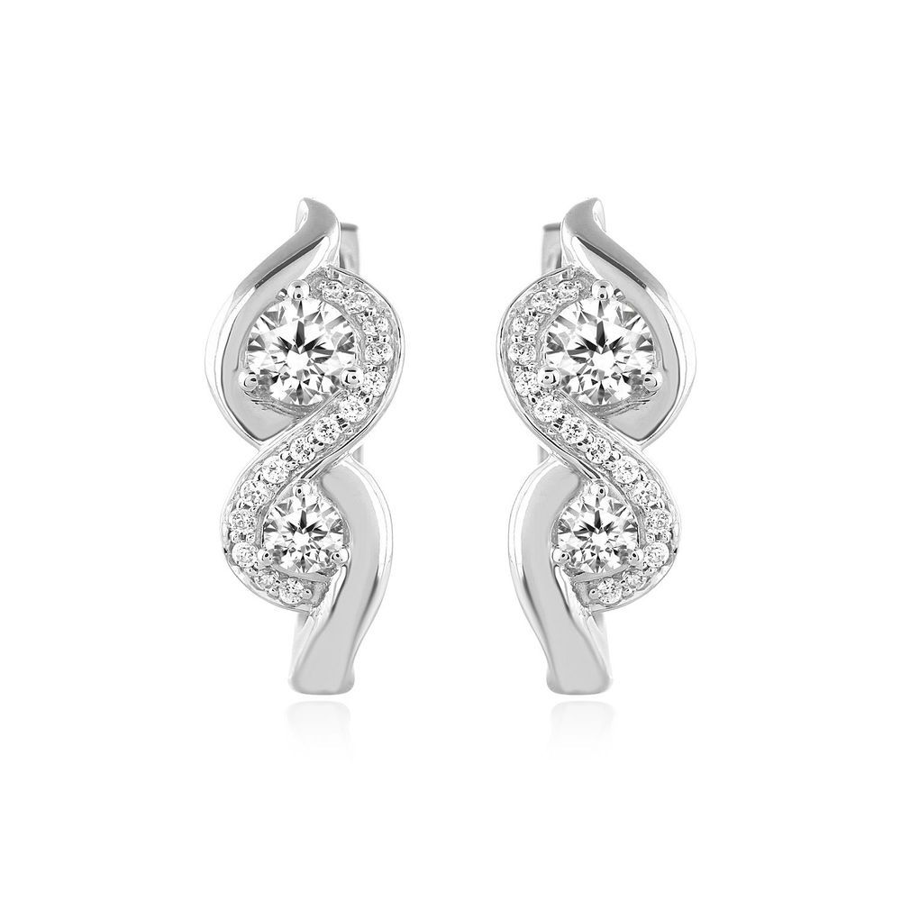 10k White Gold Two Stone Diamond Danglers Love Friendship Stud Earrings 65 Ct
