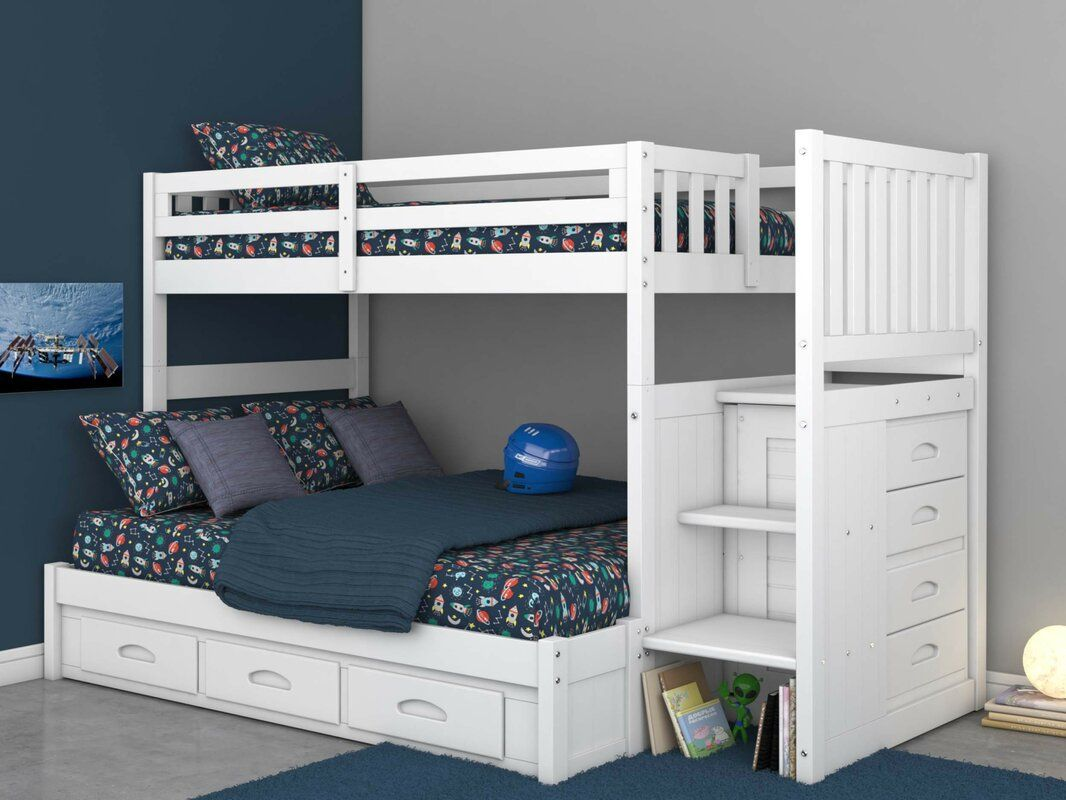 Viv Rae Trumble Twin Over Full Bunk Bed With Drawers Wayfair Girls Bunk Beds Bunk Bed With Trundle Bed With Drawers