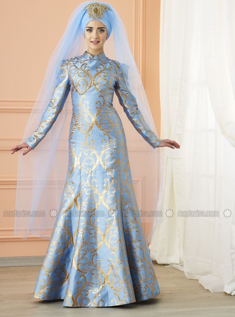 4130bebd5a Blue - Fully Lined - Crew neck - Muslim Evening Dress - Mevra ...