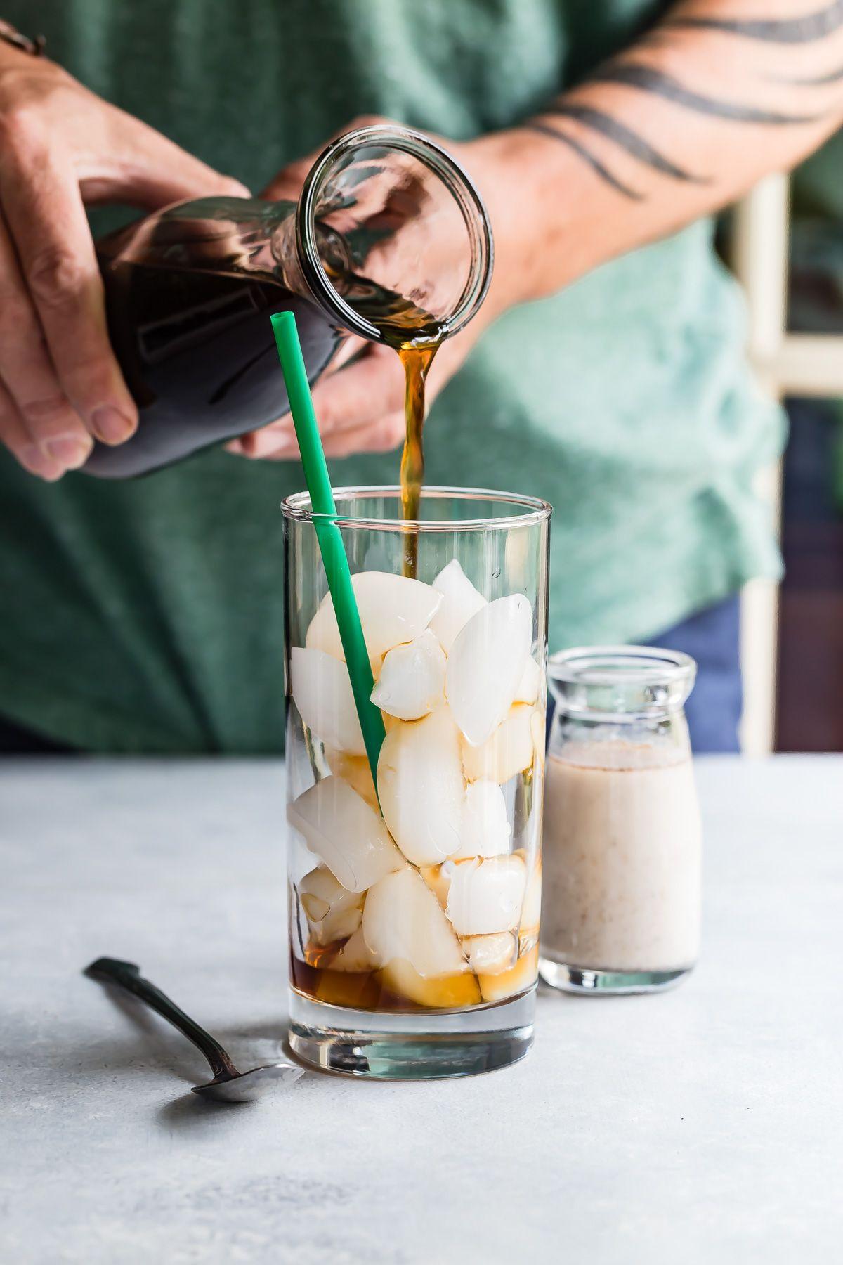 Iced coffee with vanilla cardamom almond milk recipe