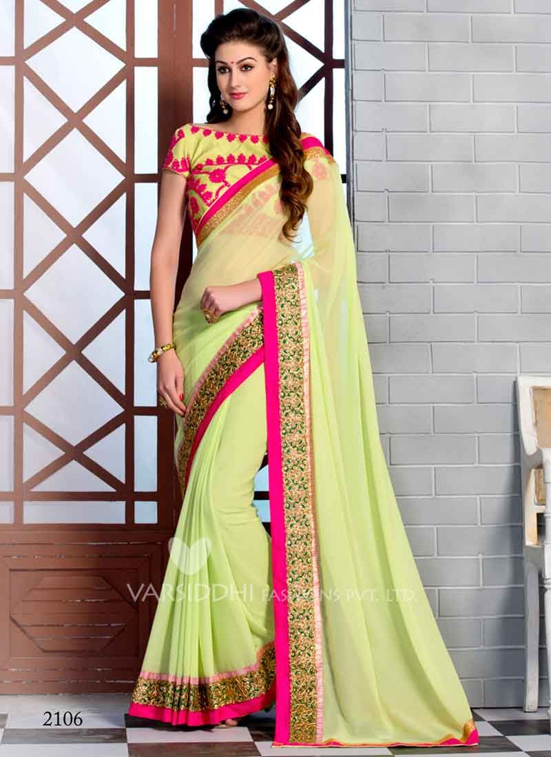 3c76b749e4df6 Bewitching Pista color Pure Georgette Stone Work Sarees