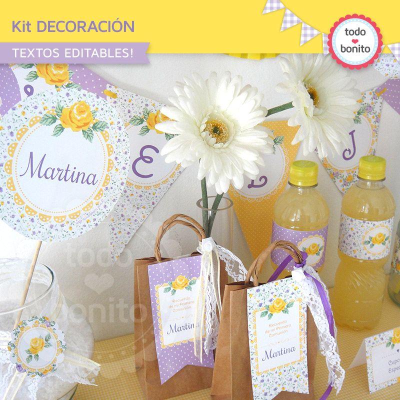 Decoraci n de fiesta shabby chic violeta y amarillo e - Decoracion fiesta comunion ...