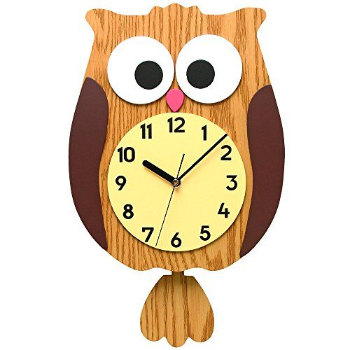 Makino Owl Wall Clock Home Decoration With Automatic Night Silence ...