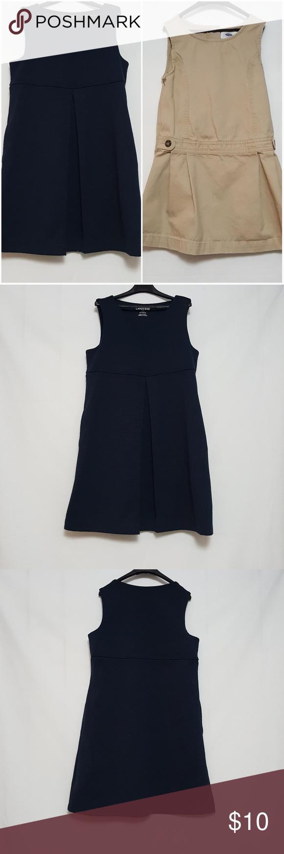 Girls uniform dresses khaki and navy blue my posh closet