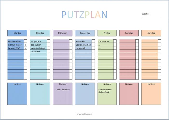 Putzplan Haushalt Vorlage Pdf Putzplan Reinigungsplan Planer