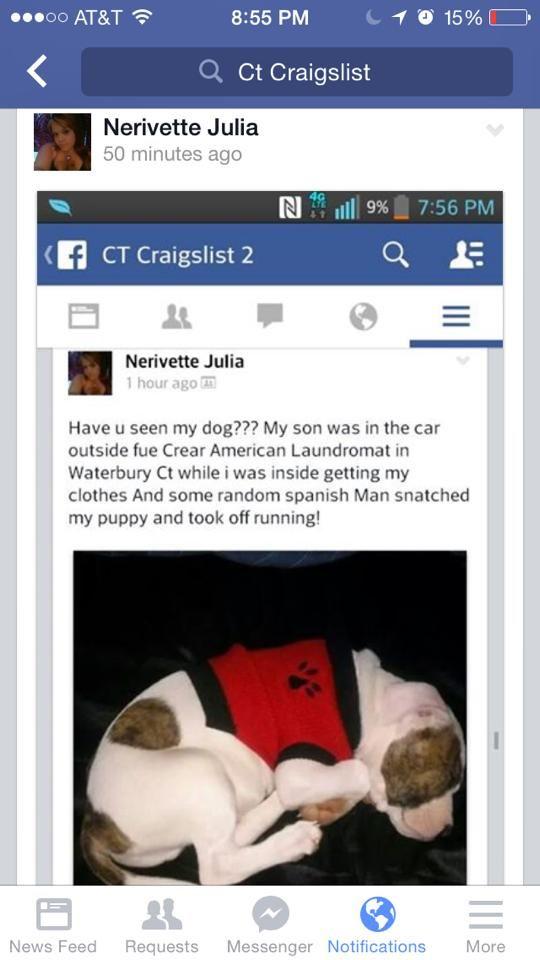 Waterbury CT! Stolen an hour ago! Spanish man ran off with
