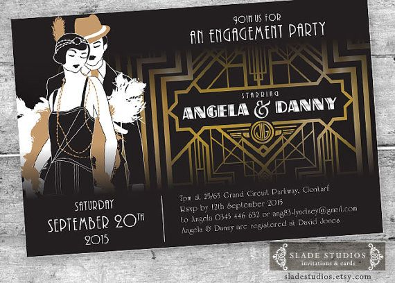Great Gatsby Style Art Deco Party Invitation Prom Graduation – Art Deco Party Invitations