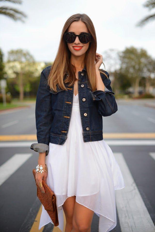 Pair a dark denim jacket with an elegant flowy white dress ...