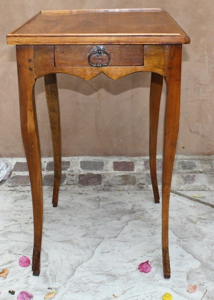 MAGNIFICENT 18C ENGLISH LOUIS XV FRUIT WOOD SIDE TABLE, DESK WITH DRAWER, SIGNED