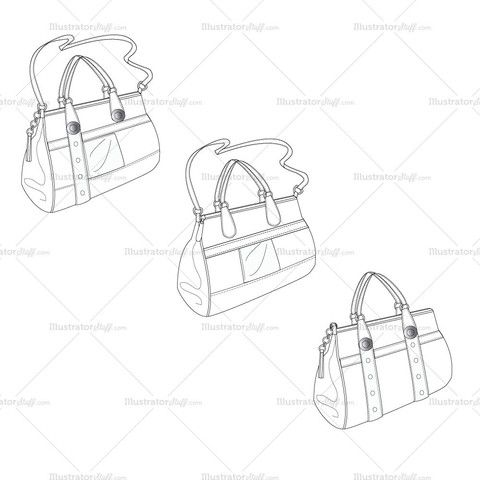 Women's Satchel Purse Bag Fashion Flat Template | Fashion flats ...
