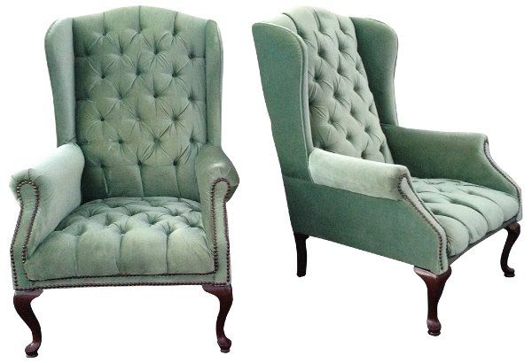 Super Fiona Chair Seafoam Green Tufted Wingback Chair 2 Of Interior Design Ideas Ghosoteloinfo