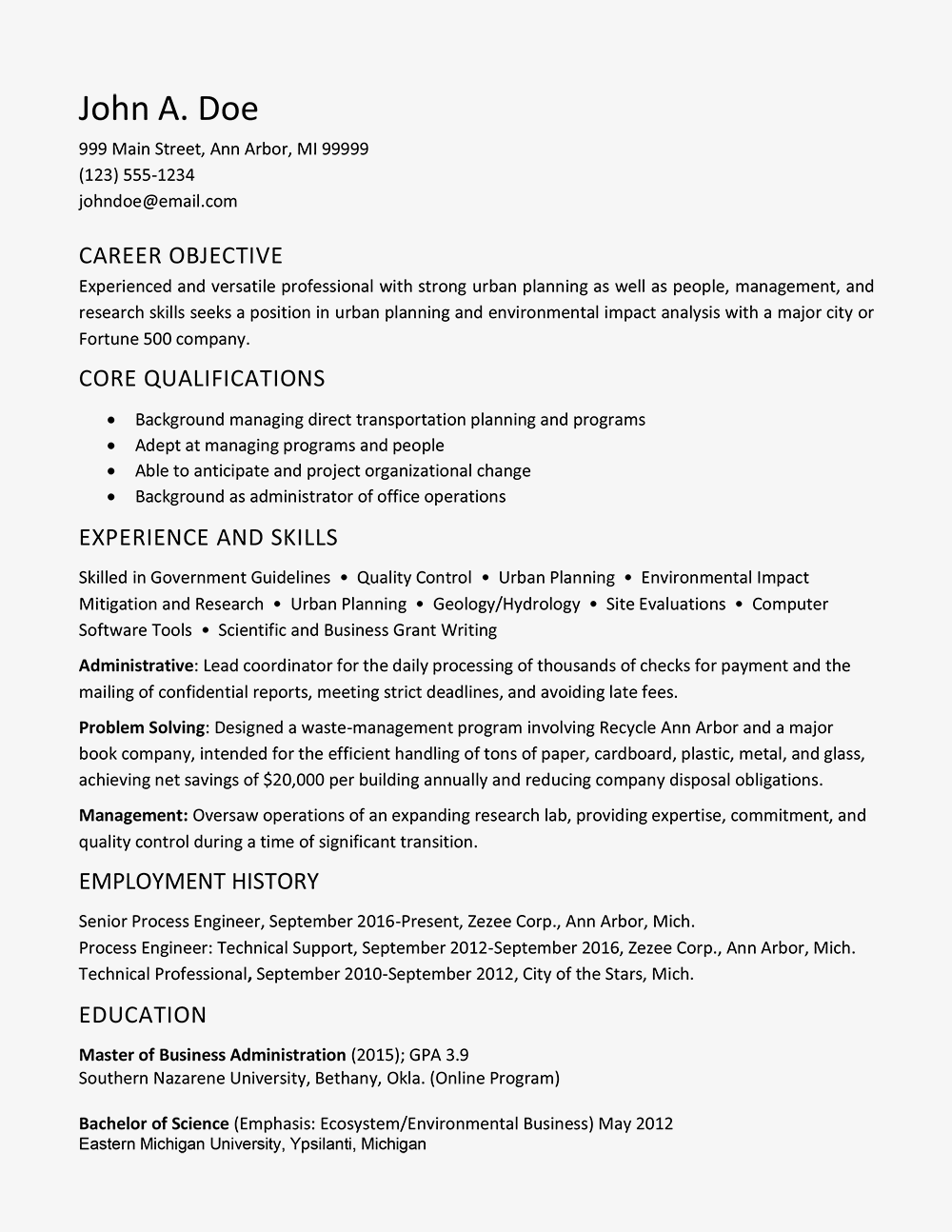 Resume Example Of An HR