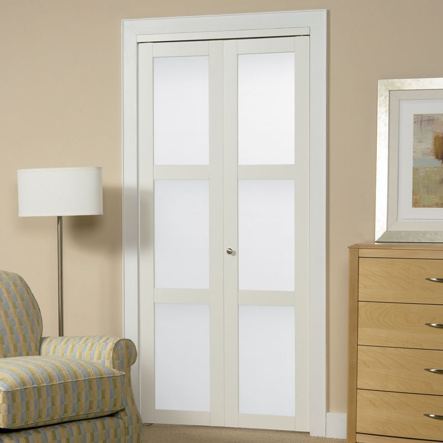 Frosted glass interior doors for bathrooms - Shop Reliabilt White 3 Lite Solid Core Tempered Frosted Glass Bifold Closet Door Common Closet Doorslaundry Room Doorsbathroom