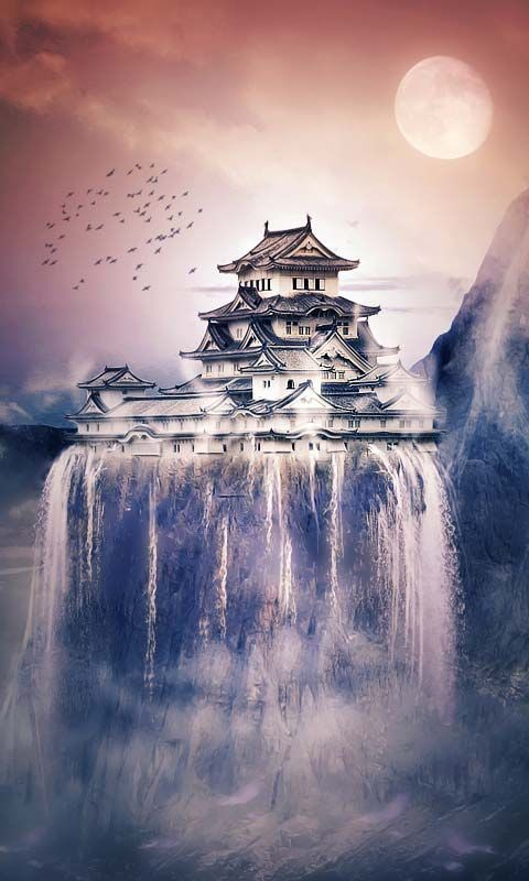Japan Landscape - Temple on Waterfall - Android Wallpapers, HTC T-Mobile G2, G1 Wallpapers free download