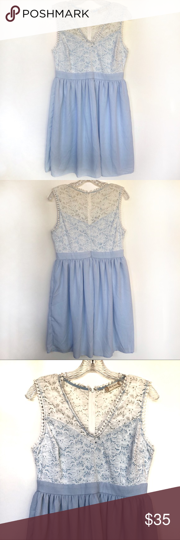 Altar D State Blue White Lace Dress Size L Lace White Dress Lace Top Dress White Lace Top Dress [ 1740 x 580 Pixel ]